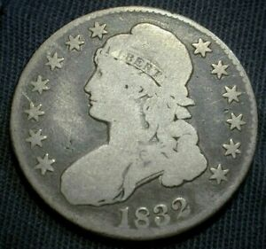 1832 USA Capped Bust Silver Half Dollar in Good Condition Large Letters  (561)