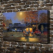 HD Canvas Print Paintings Train Passing Time Home Decor Wall Art Pictures Poster