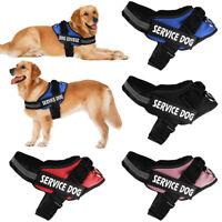 Service Reflective Pet Dog Training Vest Dog Harness Padded Label Patches S-2XL