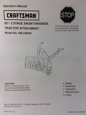 Sears Craftsman Lawn Garden Tractor Snow Thrower Owner & Parts Manual 486.248381