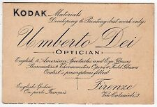 UMBERTO DEI Optician ITALY Firenze FLORENCE Italia PHOTOGRAPHY Map KODAK Ad Card