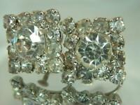 Wonderful Vintage 40's Prong Set Ice Rhinestone Square Screw Back Earrings 547A0