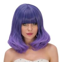 New Fashion Purple Ombre Short Wavy Bang Cosplay Party Full Wigs Curly Anime