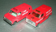 Two 1/64 Scale Ford Econoline Fire Dept Brigade Rescue Van Diecast Model Toys