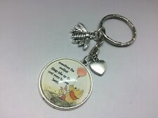 Winnie the Pooh Keyring with Piglet Friendship Quote and Honeybee + heart charm
