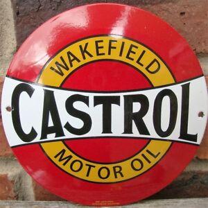 CASTROL ENAMEL SIGN round garage petrol oil vitreous porcelain VAC167