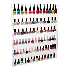 (102 Bottles) 6 Shelf Pro Clear Acrylic Nail Polish Rack / Salon Wall Mounted