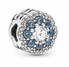 Genuine Pandora Sterling Silver Blue Sparkle Flower Charm 797851NNB ALE 925