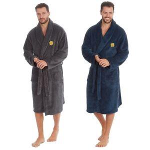 Mens Mid Length Soft Feel Cosy Warm Dressing Gown Bath Robe Nightwear Size M-2XL