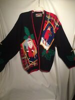 VINTAGE SHARON YOUNG CHRISTMAS THEMED LADIES CARDIGAN SWEATER LADIES SIZE S  T1