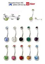 316L Double Gem Crystal Navel Belly Bar Ring 14G 10mm Piercing Colour Rhinestone