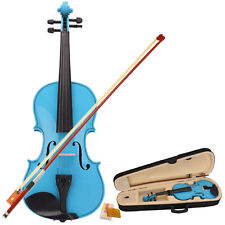 New Sky Blue 4/4 Size Basswood Acoustic Violin with Case+ Bow+ Bridge +Rosin US
