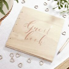 Wooden Rose Gold Foiled Wedding Christening Guest Book Rustic Vintage - Free P&P