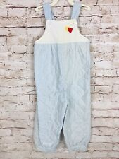 Vintage Baby Girls Quilted Overalls Striped Blue Embroidered Hearts Usa 24mo/ 2T