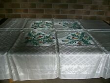 """Vintage Damask Tablecloth with Handpainted Thistles, Length 53.5"""" Width 52"""" NWOT"""