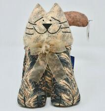 "Vintage Primitive Country Folk Art Decor Stuffed Cat Kitty Doorstop 8"" fabric"