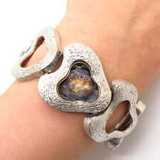 """925 Sterling Silver Vintage Heavy Abstract Design Wide Watch Bracelet 6.5"""""""