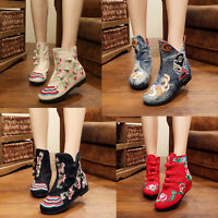 New Womens Casual Retro Folk Chinese Embroidered Floral Cloth Boots Flat Shoes