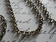 Small Round 3mm Link Antiqued Brass Rolo Chain - Qty 48 inches
