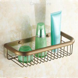 Bathroom Bath Rack Storage Wall Mount Basket Shower Caddy Shelf Antique Brass