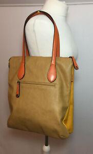 David Jones Mustard Orange & Yellow Large Tote Shoulder Bag Faux Leather VGC