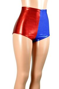 High-Waist Red Blue Metallic Booty Shorts Harley Quinn XS to 2X 3X suicide squad