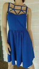 Cocktail Party Dress Ally Size 10 Short Strappy Cobolt Blue NEW Stretch
