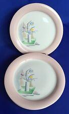 7 Homer Laughlin Swing Eggshell Dinner Plates 9 1/4 Inch Tulips In Vase Vintage