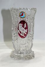 HOFBAUER BYRDES Red Clear Crystal Square Vase Birds Collection Germany 5 3/4""
