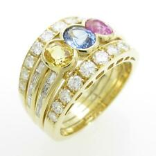 Authentic 750 Yellow Gold Sapphire ring  #260-001-541-7411