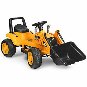 Kids Ride On Excavator Digger 6V Battery Powered Tractor w/Digging Bucket Yellow