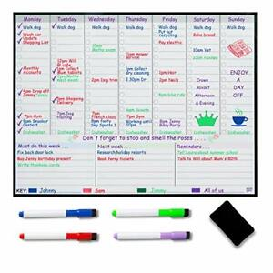 Magnetic Weekly Whiteboard Planner and 4 Pens