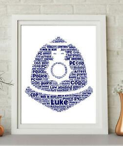Personalised Police Helmet Word Art Print Retirement New Job Keepsake Gift Male