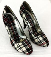 Charlotte Russe High Heels Shoes Plaid Womens Size 6 Black White Red Fabric
