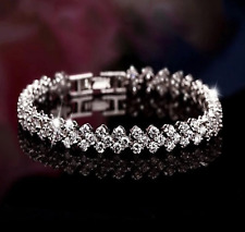 Woman Bracelet Silver Crystal Diamante Rhinestone Gem Bridal Wedding Bracelet