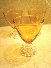 Anchor Hocking Amber Glass Boopie Cordial Set of 3 Footed 4 Ounces @4B