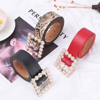 Women Leather Belt Square Buckle Solid Color Belt Waist Chains Pearl Decoration