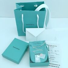 "Tiffany & Co Double Heart Pendant Pink Enamel 925 Silver Necklace 16"" New"