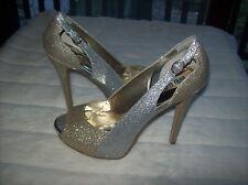 GUESS pammie Bloque Color Punta Abierta Zapatos de plataforma NUEVO TALLA 10