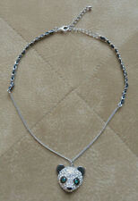 "Panda Necklace Silver Tone  Austrian Crystals Green Eyes 18""+ 3"" Extension"