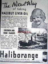 1937 'HALIBORANGE' Halibut Liver Oil Medical ADVERT - Small Chemist Print Ad