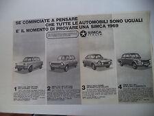 advertising Pubblicità 1968 SIMCA 1000/1100/1200 S COUPE'/1301 1501