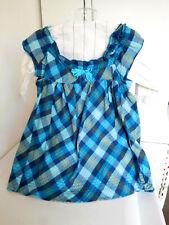 Vintage Cotton Dress Jumper & Blouse Blue Check for  Large Doll