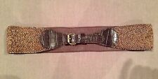Anthropologie Beaded Wink Brown Leather Belt Jasper & Jeera Size S