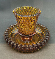 Vintage Indiana Glass Diamond Point Amber Candle Votive Candlestick