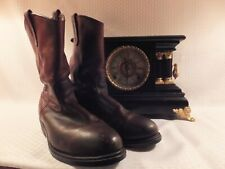 RED WING VINTAGE DK BROWN PECOS DISTRESSED STEEL TOE WORK CYCLE BOOTS 10.5 D USA