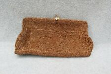 "Walborg Begium Made Beaded Bead Clutch Handbag Bronze 9 3/4"" Rhinestone Clasp"