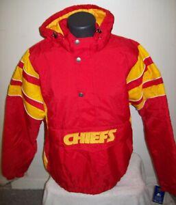 KANSAS CITY CHIEFS Starter Hooded Half Zip Pullover Jacket 5X  Team Color