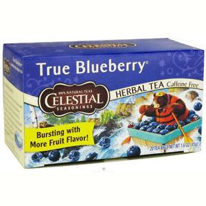 CELESTIAL SEASONINGS True Blueberry Herb Tea With Sun-Ripened Flavor 20 Tea Bags