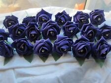10 Diamante Purple Rose Wedding Flowers Buttonholes Artifical With Pins